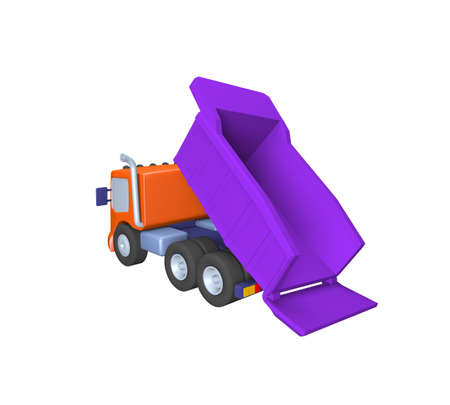 3D model of toy truck ,sand delivery, construction work, illustration on a white background 写真素材