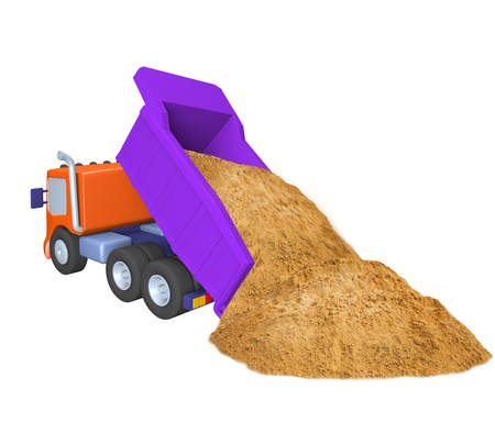3D of toy truck , sand delivery, construction work, illustration on a white background Imagens