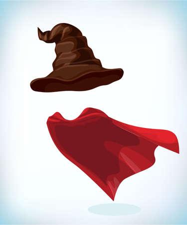 Hexen Hut. Zaubererkegel. Maskerade Kostüm Kopfschmuck. Karneval oder Halloween-Maske. Karikaturmaskottchen-Vektorillustration. Lustiger Superheld, der mit Umhang fliegt.