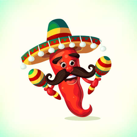 Red Pepper Wearing Sombrero And With Maracas Cartoon Mexican