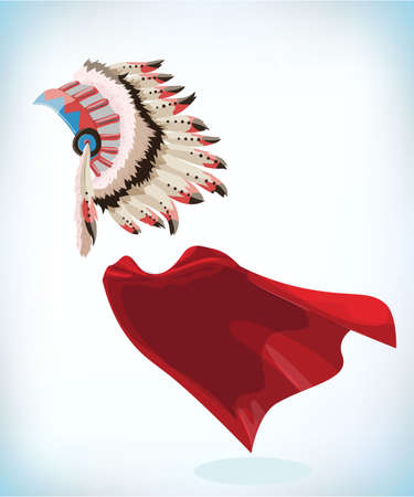Native American Indians Headdress. Tribal Chief Feather Hat. Masquerade costume headdress. Carnival or Halloween mask. Cartoon Vector illustration. Funny super hero flying with cloak. Funny super hero flying with cloak.