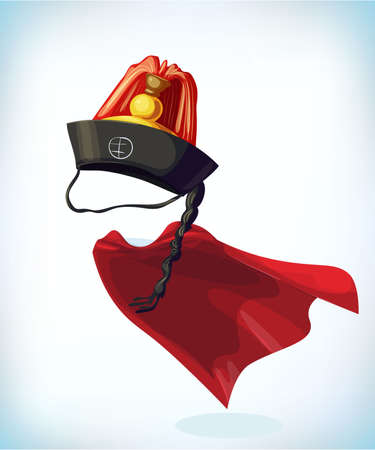 korean hat. Masquerade costume headdress. Carnival or Halloween mask. Cartoon Vector illustration. Funny super hero flying with cloak. Funny super hero flying with cloak.