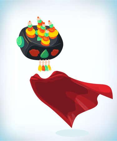 korean women hat. Masquerade costume headdress. Carnival or Halloween mask. Cartoon Vector illustration. Funny super hero flying with cloak. Funny super hero flying with cloak.