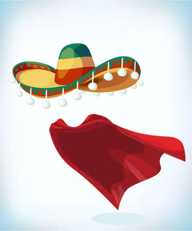 Sombrero Mexican hat. Masquerade costume headdress. Carnival or Halloween mask. Cartoon Vector illustration. Funny super hero flying with cloak. Funny super hero flying with cloak. Funny super hero flying with cloak.