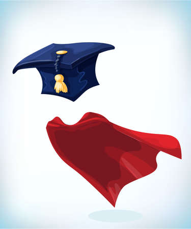 College alumni hat. Graduation cap with gold tassel. Masquerade costume headdress. Carnival or Halloween mask. Cartoon Vector illustration. Funny super hero flying with cloak. Funny super hero flying with cloak.