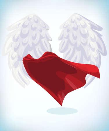 angel wings. Masquerade costume. Carnival or Halloween Cartoon Vector illustration. Funny super hero flying with cloak. Funny super hero flying with cloak. Funny super hero flying with cloak. Çizim