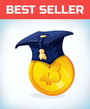 Bitcoin in College alumni hat. Bitcoin. Digital currency. Crypto currency. Money and finance symbol. Miner bit coin criptocurrency. Virtual money concept. Cartoon Vector illustration