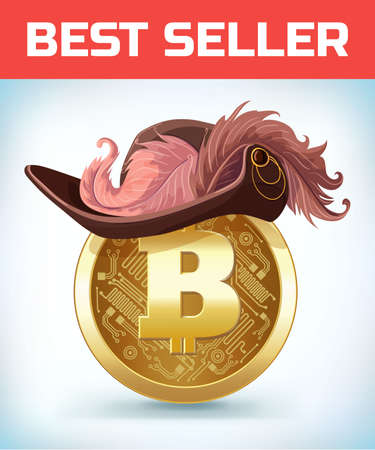 Bitcoin in Musketeer or pirate hat. Bitcoin. Digital currency. Crypto currency. Money and finance symbol. Miner bit coin criptocurrency. Virtual money concept. Cartoon Vector illustration
