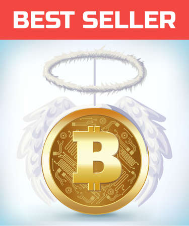 Bitcoin with angel nibm and wings. Crypto currency crisis. Crypto currency devaluation. Bitcoin fallen. Digital currency. Crypto currency. Money and finance symbol. Cartoon Vector illustration. 矢量图像