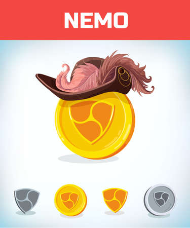 nemo in Musketeer or pirate hat. nemo. Digital currency. Crypto currency. Money and finance symbol. Miner bit coin criptocurrency. Virtual money concept. Cartoon Vector illustration. Illustration