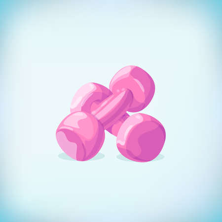 Pink dumbbells isolated on a white background. Dumbbell vector icon.