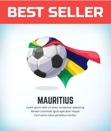 Mauritius football or soccer ball. Football national team. Vector illustration. Çizim