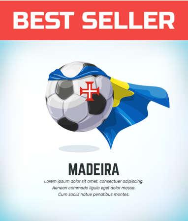Madeira football or soccer ball. Football national team. Vector illustration.