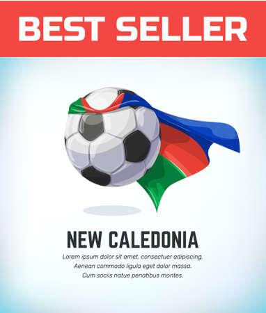 New Caledonia football or soccer ball. Football national team. Vector illustration. Vectores