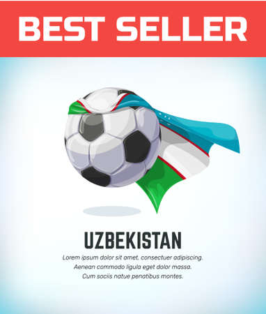 Uzbekistan football or soccer ball. Football national team. Vector illustration. Stock Illustratie