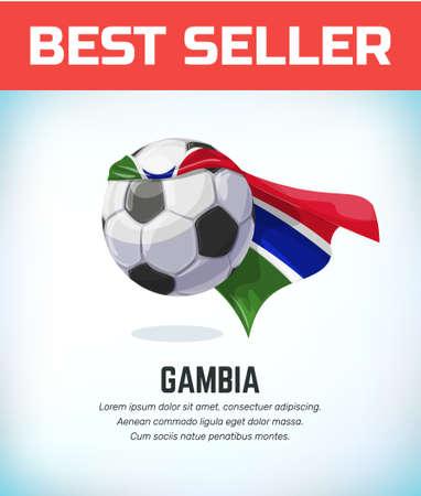 Gambia football or soccer ball. Football national team. Vector illustration. Çizim