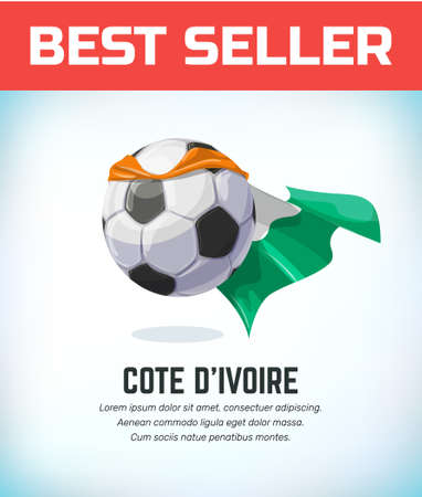 Cote D'ivoire football or soccer ball. Football national team. Vector illustration.