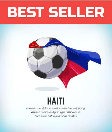 Balón de fútbol o fútbol de Haití. Equipo nacional de fútbol. Ilustración vectorial. Ilustración de vector