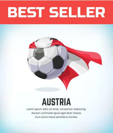 Austria football or soccer ball. Football national team. Vector illustration.