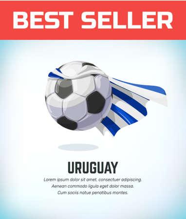 Uruguay football or soccer ball. Football national team. Vector illustration.