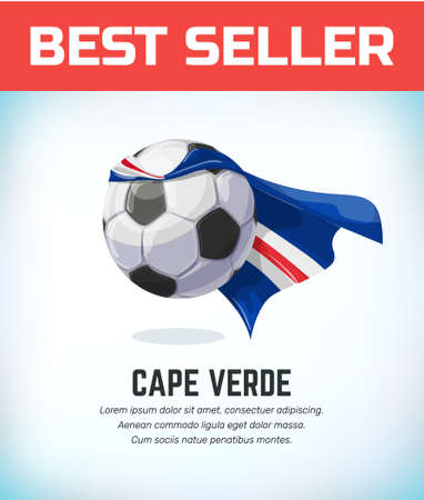 Cape Verde football or soccer ball. Football national team. Vector illustration. Çizim
