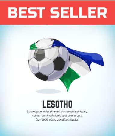 Lesotho football or soccer ball. Football national team. Vector illustration.