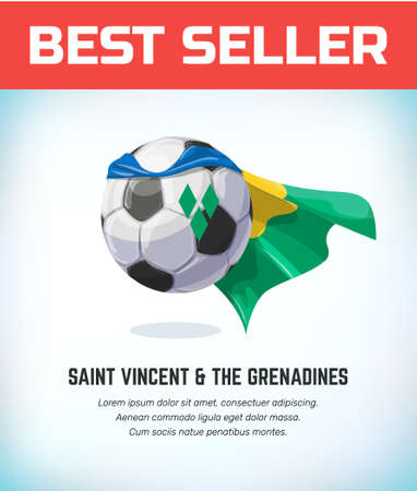 Saint Vincent end The Grenadines football or soccer ball. Football national team. Vector illustration. Çizim