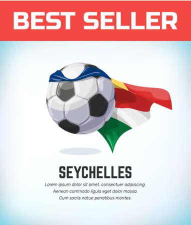 Seychelles football or soccer ball. Football national team. Vector illustration.