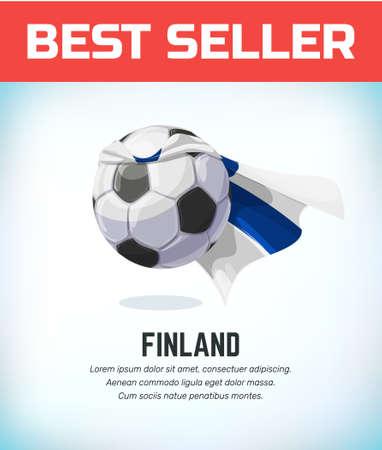 Finland football or soccer ball. Football national team. Vector illustration. Vectores