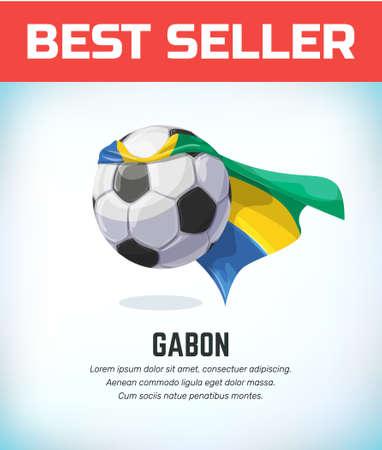 Gabon football or soccer ball. Football national team. Vector illustration.