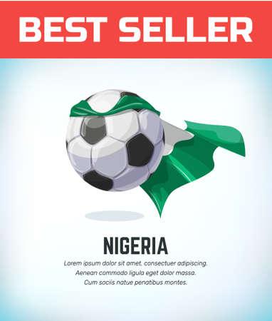 Nigeria football or soccer ball. Football national team. Vector illustration. Çizim