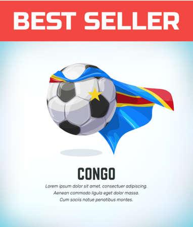 Congo football or soccer ball. Football national team. Vector illustration.