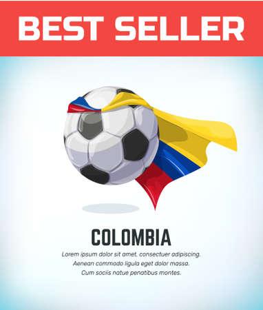 Colombia football or soccer ball. Football national team. Vector illustration.