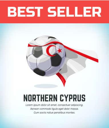 Northern Cyprus football or soccer ball. Football national team. Vector illustration.