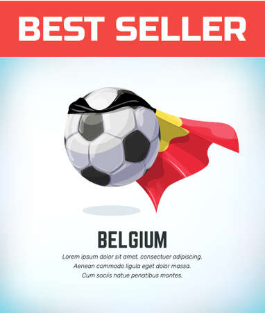 Belgium football or soccer ball. Football national team. Vector illustration.