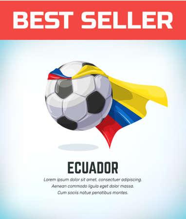 Ecuador football or soccer ball. Football national team. Vector illustration.