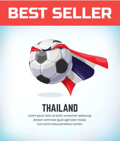 Thailand football or soccer ball. Football national team. Vector illustration.