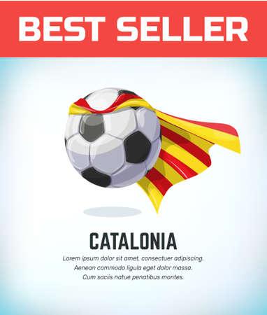 Catalonia football or soccer ball. Football national team. Vector illustration.