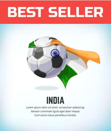 India football or soccer ball. Football national team. Vector illustration.