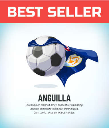 Anguilla football or soccer ball. Football national team. Vector illustration. Çizim