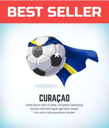 Curacao football or soccer ball. Football national team. Vector illustration.