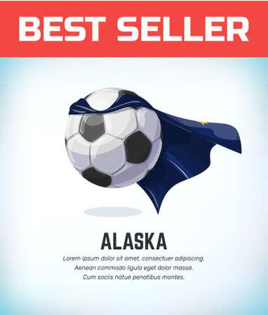 Alaska football or soccer ball. Football national team. Vector illustration.