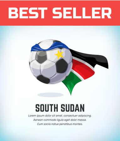 South Sudan football or soccer ball. Football national team. Vector illustration.