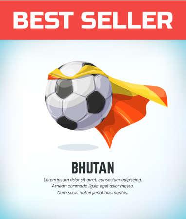 Bhutan football or soccer ball. Football national team. Vector illustration.