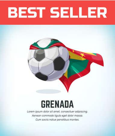 Grenada football or soccer ball. Football national team. Vector illustration. Çizim