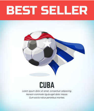 Cuba football or soccer ball. Football national team. Vector illustration. Çizim