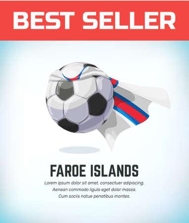 Faroe Islands football or soccer ball. Football national team. Vector illustration.