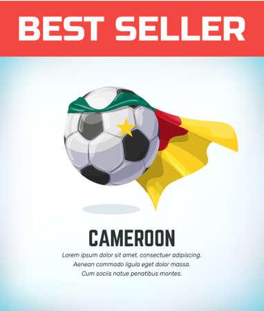 Cameroon football or soccer ball. Football national team. Vector illustration. Çizim