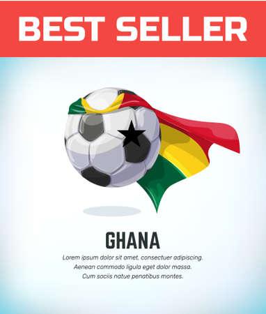 Ghana football or soccer ball. Football national team. Vector illustration.