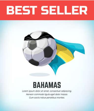 Bahamas football or soccer ball. Football national team. Vector illustration.